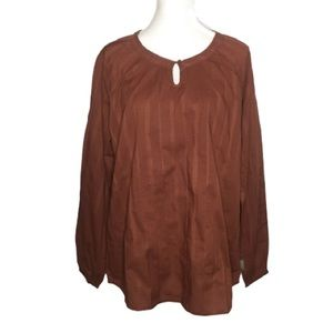 NWT Woolrich Brown Linwood Peasant Style Shirt